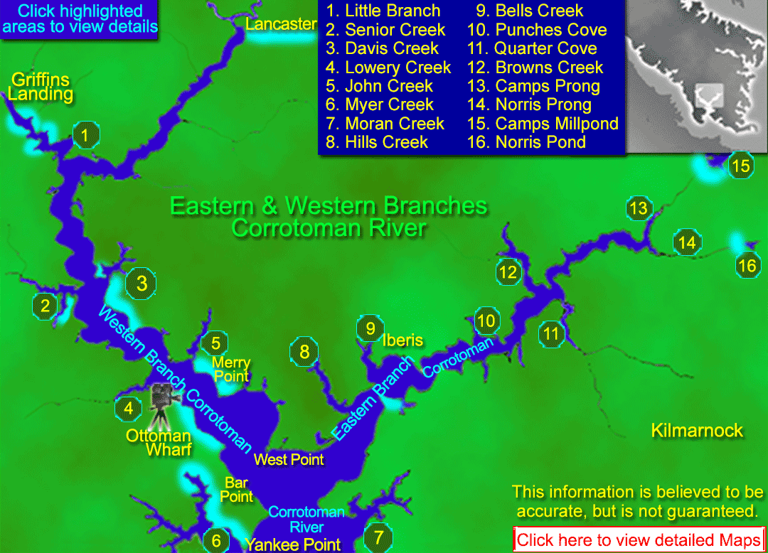Map Featuring resources, maps, charts, satellite images of the Eastern and Western branches of the Corrotoman River area in the Northern Neck of Virginia