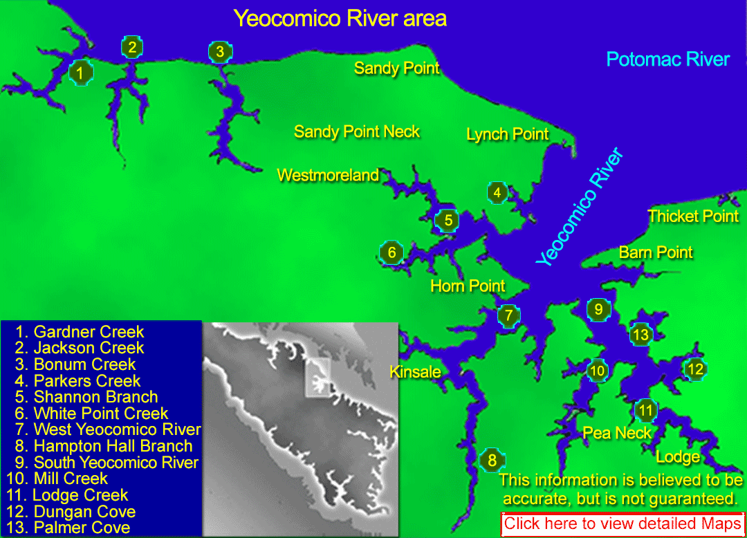 Featuring resources, maps, charts, satellite images of Yeocomic River area in the Northern Neck of Virginia