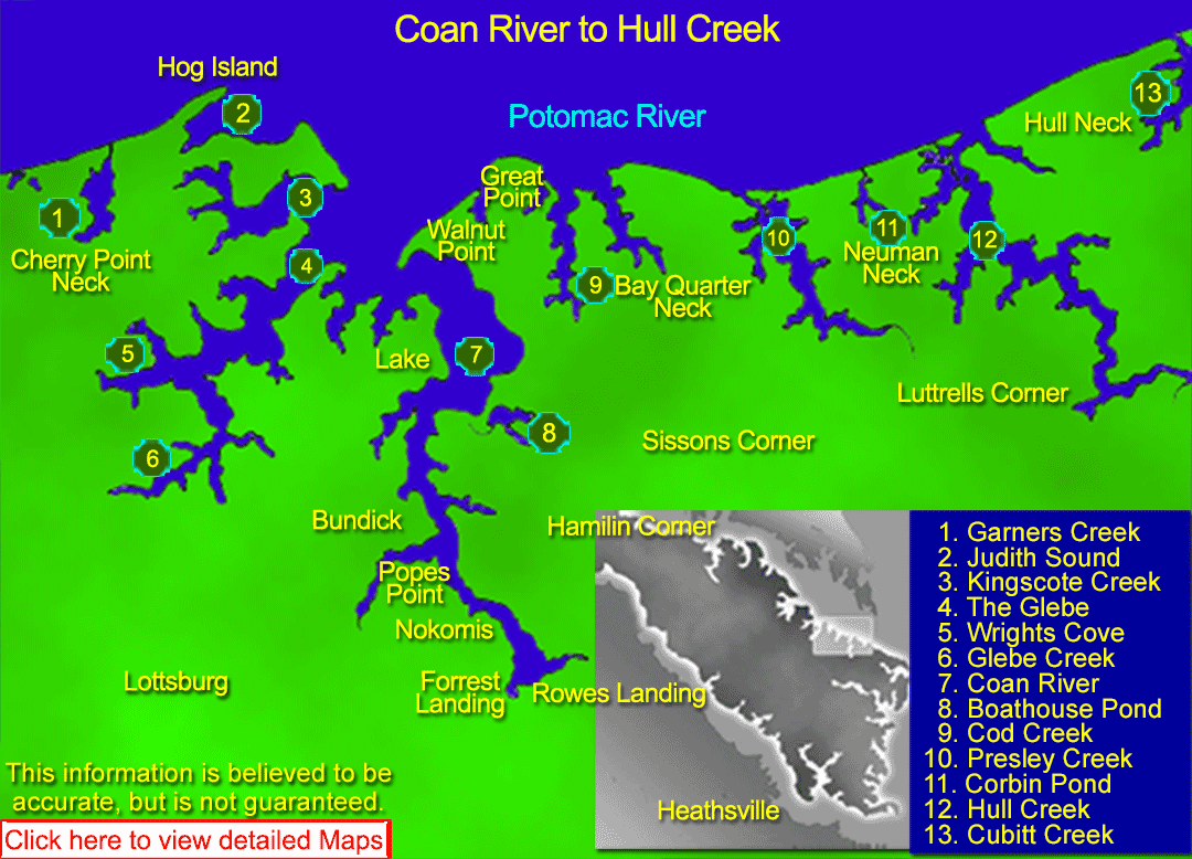 Featuring resources, maps, charts, satellite images of Coan River to Hull Creek in the Northern Neck of Virginia